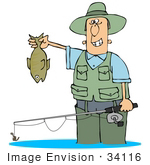 #34116 Clip Art Graphic Of A Man Grinning And Holding His Tough Catch While Wading In The Water With His Pole