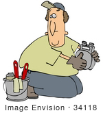 #34118 Clip Art Graphic Of A Confused Man Kneeling On The Ground And Working On A Gas Meter