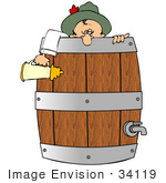 #34119 Clip Art Graphic Of A Drunk Oktoberfest Man Collapsed Over The Edge Of A Keg Holding A Beer Stein