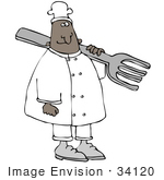 #34120 Clip Art Graphic Of A Male African American Chef In A White Uniform Carrying A Giant Silver Fork On His Shoulder