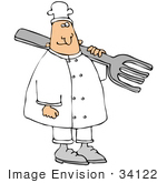 #34122 Clip Art Graphic Of A Caucasian Male Chef In White Carrying A Giant Fork Over His Shoulder