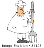 #34123 Clip Art Graphic Of A Caucasian Chef Man In White Holding Up A Giant Silver Fork