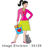 #34129 Clip Art Graphic Of A Fashionable Young Woman Carrying A Bag And Standing With A Kitten