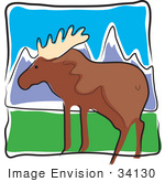 #34130 Clip Art Graphic Of A Wild Brown Moose In A Pasture In The Mountains