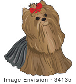 #34135 Clip Art Graphic Of A Pampered Pooch A Yorkie Terrier Dog Wearing A Red Bow