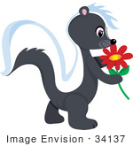 #34137 Clip Art Graphic Of A Skunk Smelling A Red Flower While Walking