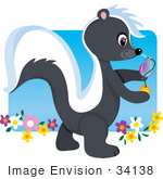 #34138 Clip Art Graphic Of A Skunk Spraying Perfume While Walking In A Garden Of Flowers