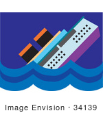 #34139 Clip Art Graphic of a Cruise Ship Resembling Titanic Sinking in the Ocean by Maria Bell
