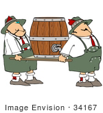 #34167 Clip Art Graphic Of A Heavy Beer Keg Being Carried By Two Men In Uniform
