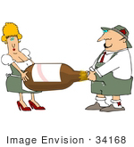 #34168 Clip Art Graphic of a Heavy Beer Bottle Being Carried By A Man And Woman by DJArt