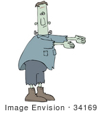 #34169 Clip Art Graphic of a Zombie Frankenstein Walking With His Arms Out by DJArt