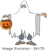 #34170 Clip Art Graphic Of A Boy In A Ghost Costume Under A Sheet Carrying A Pumpkin Basket