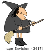 #34171 Clip Art Graphic Of A Warty Witch In Black Preparing To Fly Off On Her Broomstick
