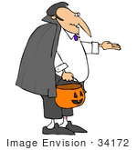 #34172 Clip Art Graphic of a Middle Aged Man Dressed As Dracula, Trick Or Treating by DJArt