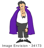 #34173 Clip Art Graphic Of A Purple Caped Vampire Man With Fangs