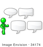 #34174 Clip Art Graphic Of A Green Guy Character Wearing A Business Tie And Standing With Four Different Styled Text Balloons