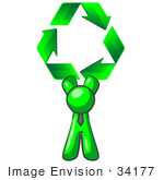 #34177 Clip Art Graphic Of A Green Guy Character Wearing A Business Tie And Holding Green Recycle Arrows High Above His Head