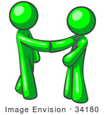 #34180 Clip Art Graphic of a Green Guy Character Wearing A Business Tie And Shaking Hands With A Client On The Pursuit Of Green Energy by Jester Arts