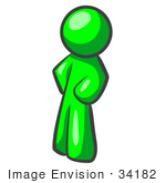#34182 Clip Art Graphic of a Green Guy Character Standing With His Hands On His Hips, Leaning Slightly To The Right by Jester Arts