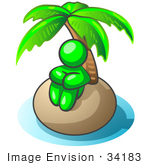 #34183 Clip Art Graphic of a Green Guy Character Seated In Thought Under The Shade Of A Palm Tree On A Deserted Tropical Island by Jester Arts