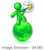 #34185 Clip Art Graphic Of A Green Guy Character Dancing On A Green Globe With A White Daisy Flower
