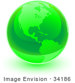 #34186 Clip Art Graphic Of A Shiny Green World Globe With The American Continents