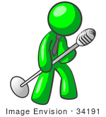 #34191 Clip Art Graphic Of A Green Guy Character Wearing A Business Tie And Tipping A Microphone On A Stand While Rocking Out And Singing On Stage by Jester Arts