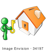#34197 Clip Art Graphic of a Green Guy Character Holding A Golden Key And Standing In Front Of An Orange Home With A Coin Slot On The Roof And Key Hole In The Door by Jester Arts