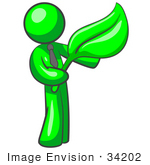 #34202 Clip Art Graphic of a Green Guy Character Wearing A Business Tie And Holding A Giant Green Organic Leaf by Jester Arts