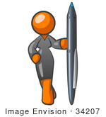 #34207 Clip Art Graphic Of A Successful Orange Woman Character Wearing A Black Dress And Holding Up A Pen