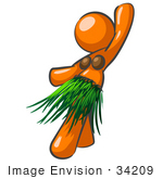 #34209 Clip Art Graphic Of An Orange Woman Character In Coconut Shells And A Grass Skirt Hula Dancing At A Hawaiian Luau by Jester Arts
