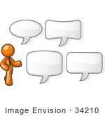 #34210 Clip Art Graphic Of An Orange Man Character In A Business Tie Standing By Different Shaped Word Balloons