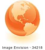 #34218 Clip Art Graphic Of A Shiny Orange Globe Showing The Americas