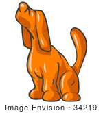 #34219 Clip Art Graphic of an Orange Hound Dog Character Sounding A Lonely Howl by Jester Arts