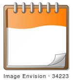 #34223 Clip Art Graphic of an Orange And White Spiral Notepad With The Corner Of A Page Curling by Jester Arts