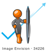 #34226 Clip Art Graphic of an Orange Corporate Woman Character Standing In Front Of An Arrow And Check Mark With A Pen by Jester Arts