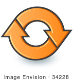 #34228 Clip Art Graphic Of An Orange Circle Of Two Arrows Moving In A Clockwise Motion