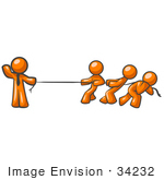 #34232 Clip Art Graphic Of An Orange Guy Character Wearing A Business Tie And Waving While Holding One End Of A Rope And Competing In A Tug Of War Contest With Three Other People