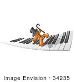 #34235 Clip Art Graphic of an Orange Guy Character Wearing A Tie And Top Hat And Dancing Across A Keyboard With A Cane by Jester Arts