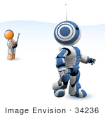 #34236 Clip Art Graphic Of An Orange Guy Character Testing Out His New Invention A Blue And White Robot Controlled By A Remote