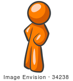 #34238 Clip Art Graphic of an Orange Guy Character Standing With His Hands On His Hips, Leaning Slightly To The Right by Jester Arts