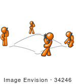 #34246 Clip Art Graphic Of Orange Guy Characters Standing On Bases In A Square And Chatting To Eachother On Mobile Cell Phones