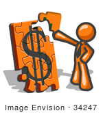 #34247 Clip Art Graphic Of An Orange Guy Character Fitting A Corner Piece To A Financial Dollar Sign Puzzle On Top