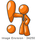 #34250 Clip Art Graphic of an Orange Guy Character Wearing A Business Tie And Punching A Giant Exclamation Point by Jester Arts