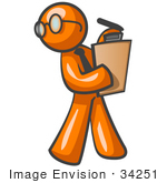 #34251 Clip Art Graphic of an Orange Guy Character Wearing Spectacles And A Business Tie And Carrying A Pen And Clipboard While Reviewing Workers by Jester Arts