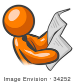 #34252 Clip Art Graphic of an Orange Guy Character Wearing A Business Tie And Reading The Morning Newspaper Before The Work Day by Jester Arts