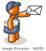 #34255 Clip Art Graphic Of An Orange Guy Character Mailman In Blue Holding Out A White Envelope And Carrying A Bag
