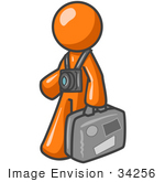 #34256 Clip Art Graphic of an Orange Guy Character Touring A Destination, Wearing A Camera On A Strap And Carrying Luggage by Jester Arts