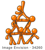 #34260 Clip Art Graphic Of Orange Guy Characters Wearing Business Ties Standing On Top Of Eachother In The Form Of A Pyramid