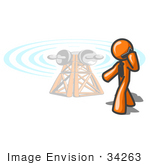 #34263 Clip Art Graphic Of An Orange Guy Character Walking Past A Communications Tower And Talking On A Cellular Telephone